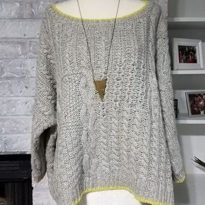 Victoria Secret Chunky Grey Boatneck Sweater